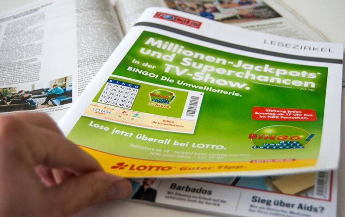 Lotto Hamburg wirbt bereits im vierten Jahr in Folge mit der Titelanzeige im Lesezirkel.