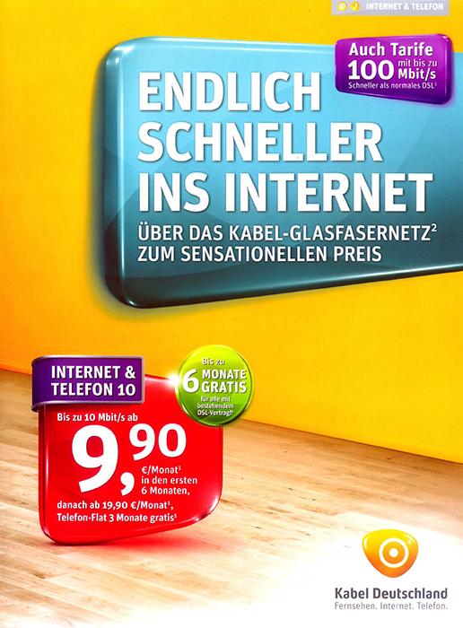 Kabel Deutschland bewirbt aktuelle Angebote mit einem Beihefter im Lesezirkel.