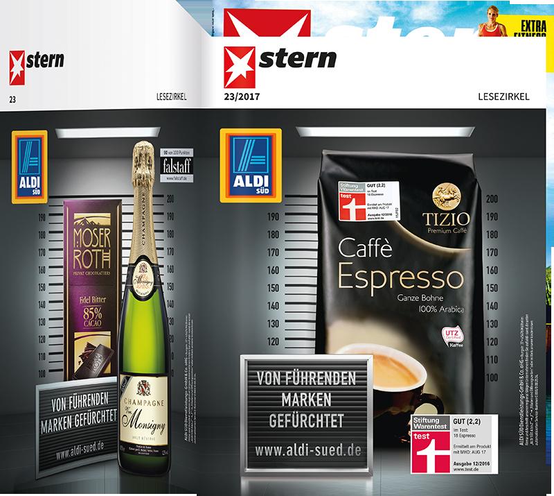 Top-Cover ALDI SÜD Caffè Espresso und Champagner