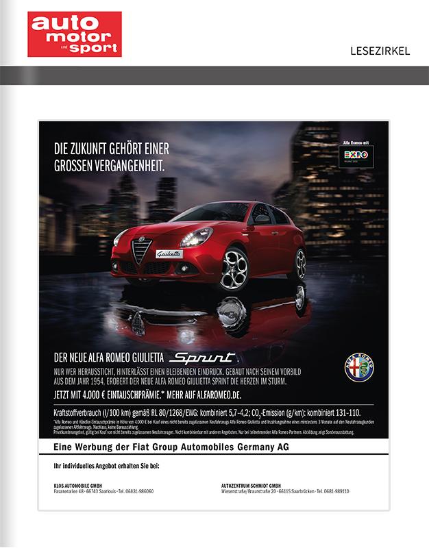 Titelanzeige Alfa Romeo Guilietta Sprint