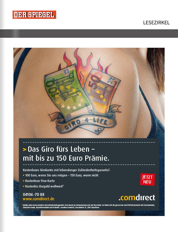 comdirect – Titelanzeige vor der Zeitschrift Der Spiegel