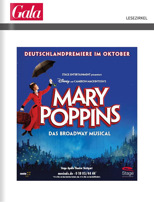 Stage Musical Mary Poppins – Titelanzeige vor der Zeitschrift Gala