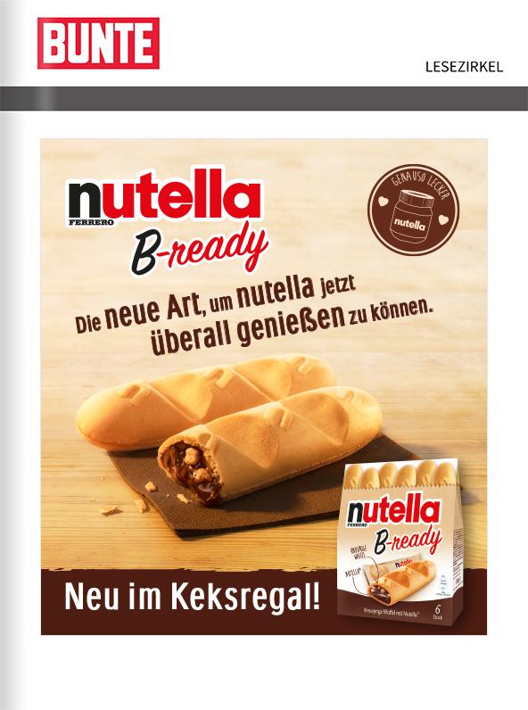 nutella B-ready – Titelanzeige vor der Zeitschrift BUNTE