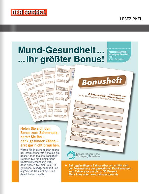 Titelanzeige Kassenärztliche Vereinigung Nordrhein Bonusheft